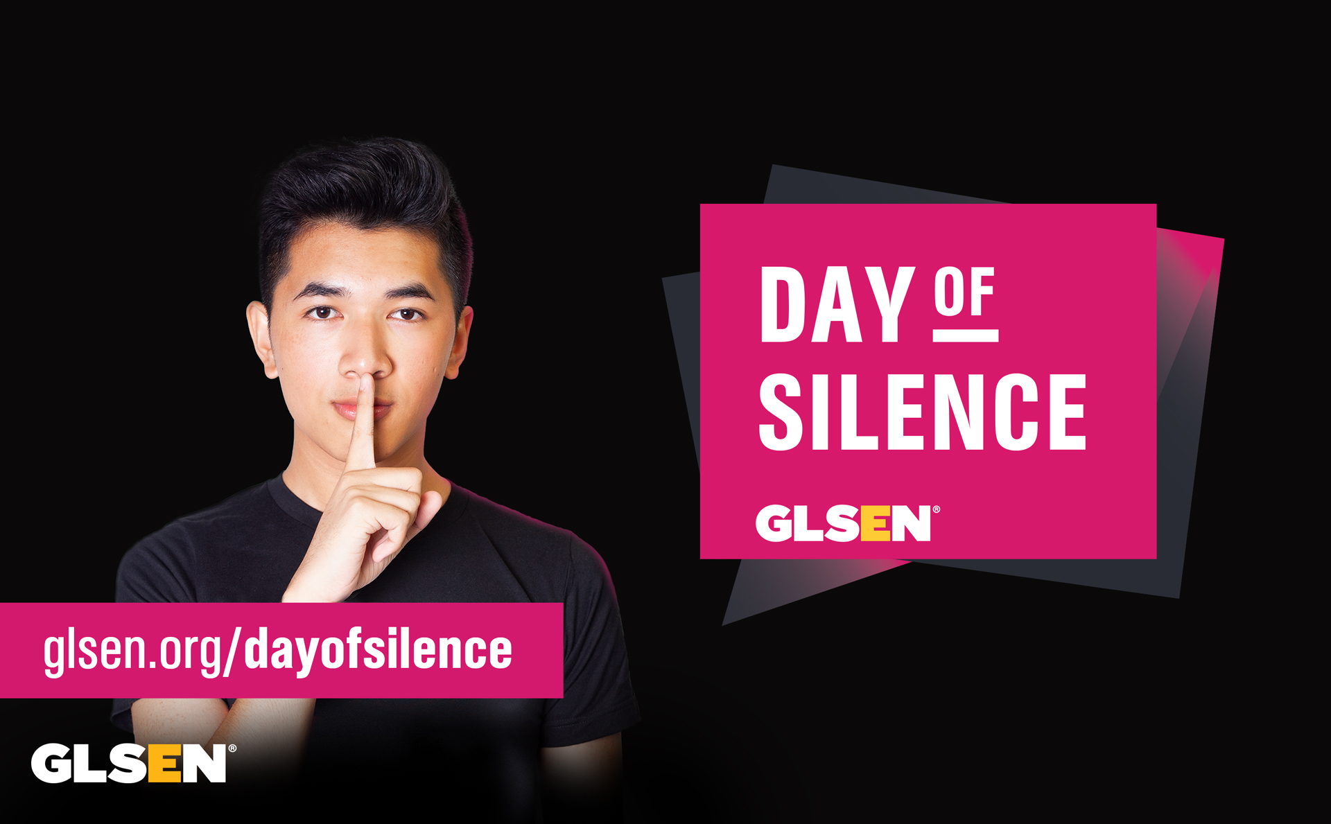 """Day of silence logo with student doing a """"shush"""" gesture"""