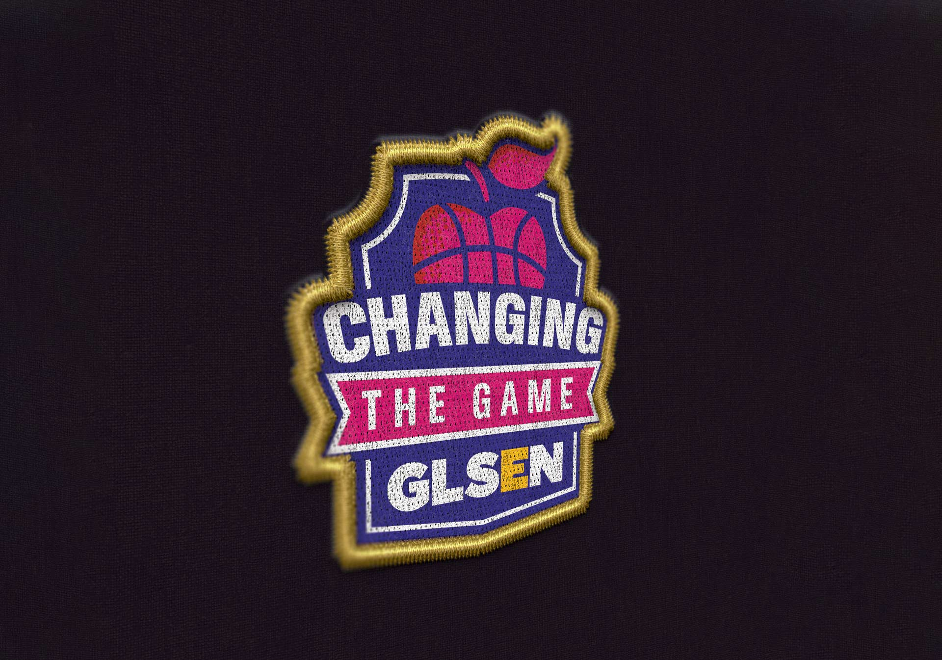 Changing the game logo with caption portraying an apple + heart + basketball which exemplifies how the logo was built