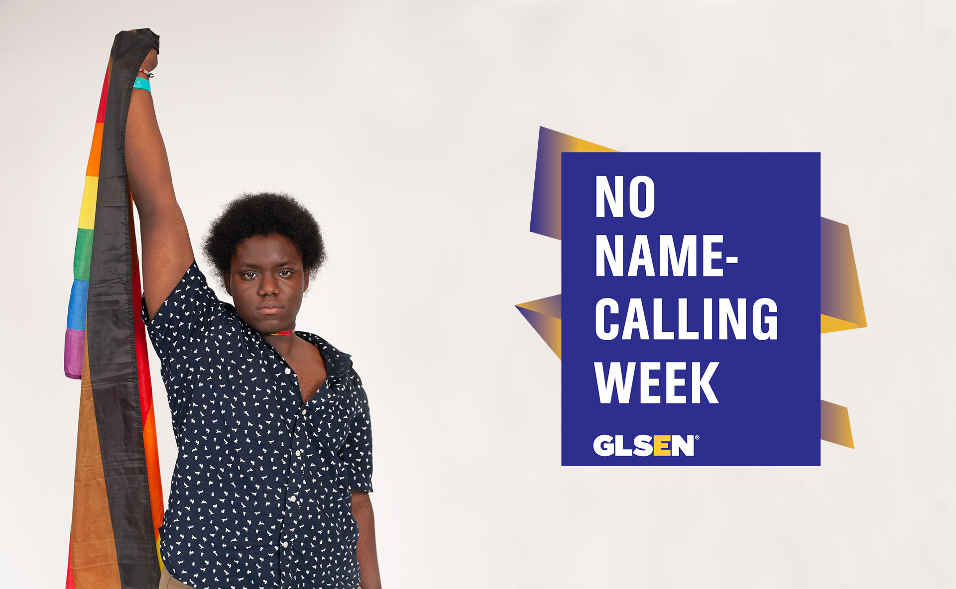 No Name-Calling Week banner with logo and student holding LGBTQ flag