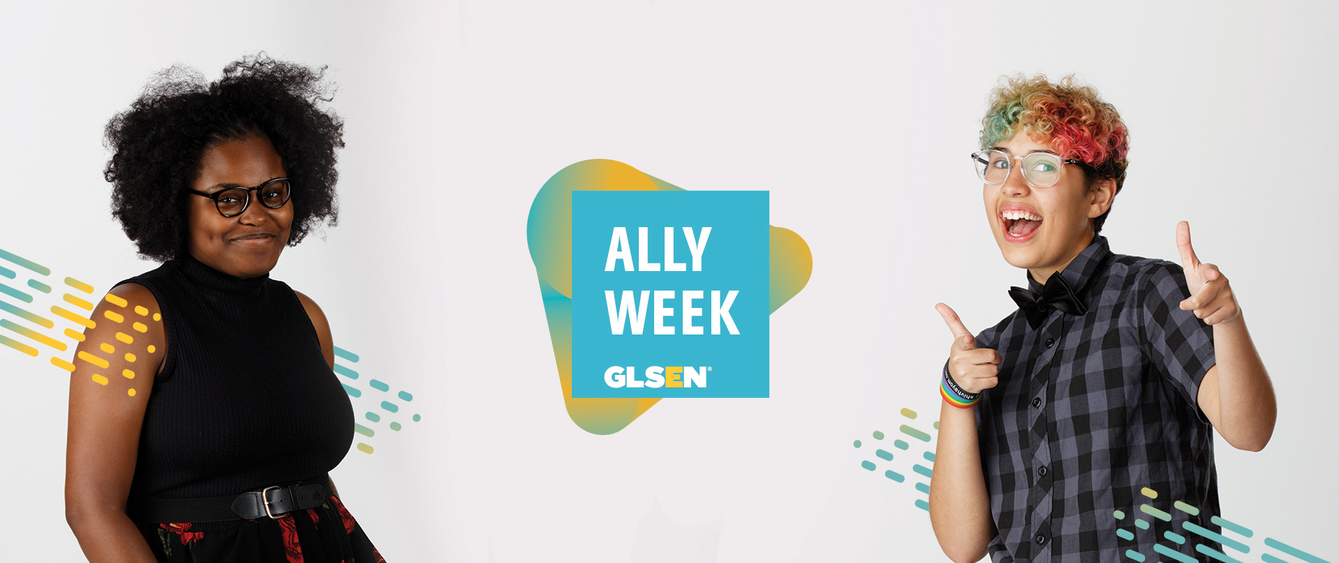 Ally Week header with two students and logo