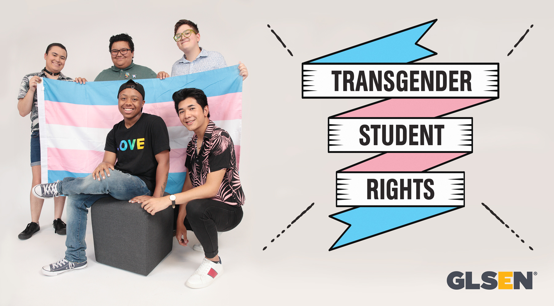 """GLSEN header with trans students photo. Text reads """"transgender student rights"""""""