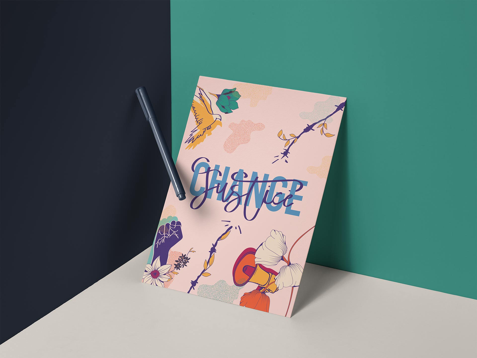 """'Change Justice' mockup poster. Image is typography of """"change justice"""" intertwined, a dove flying with flowers, barbered wire being broken, a fist up with flowers, and a megaphone with flowers"""