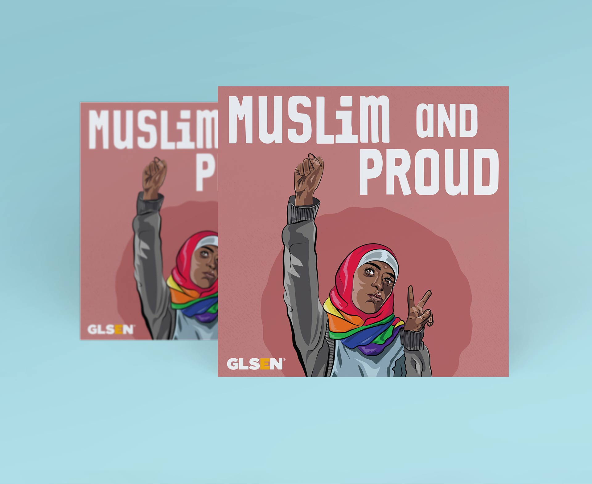 """Illustration on a square mockup of a muslim LGBTQ person with a rainbow hijab. They have their fist up and a peace sign on the other hands. The text reads """"muslim and proud"""""""
