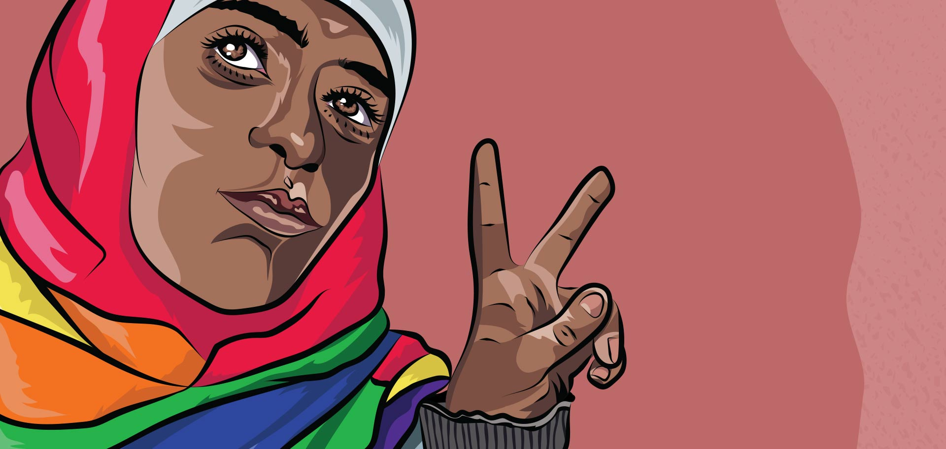 """Illustration detail of a muslim LGBTQ person with a rainbow hijab. They have their fist up and a peace sign on the other hands. The text reads """"muslim and proud"""""""