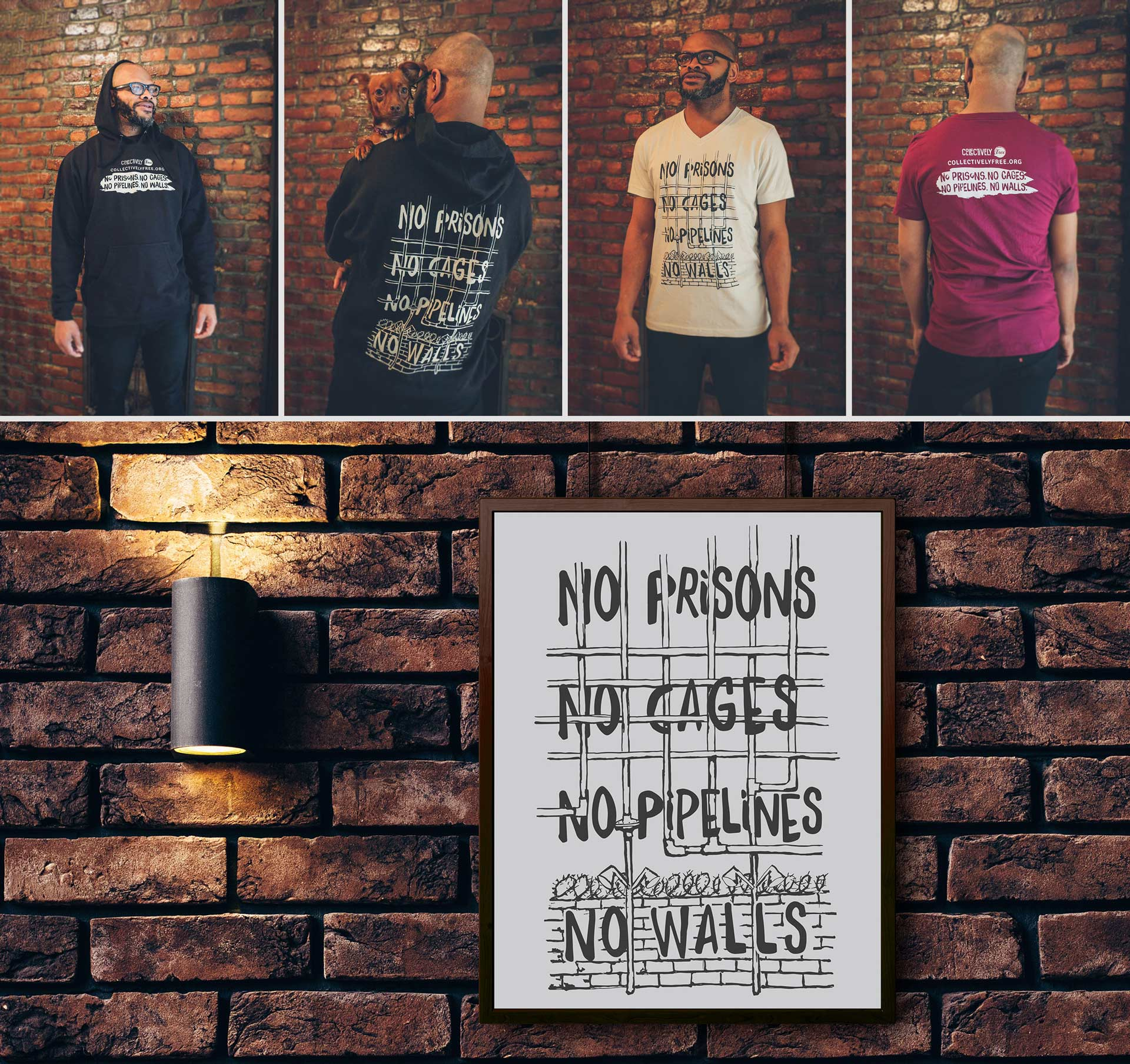 """Hoodies, shirts and mockup poster of typography that reads """"No prisons, no cages, no pipelines, no walls"""". Typography is intertwined"""