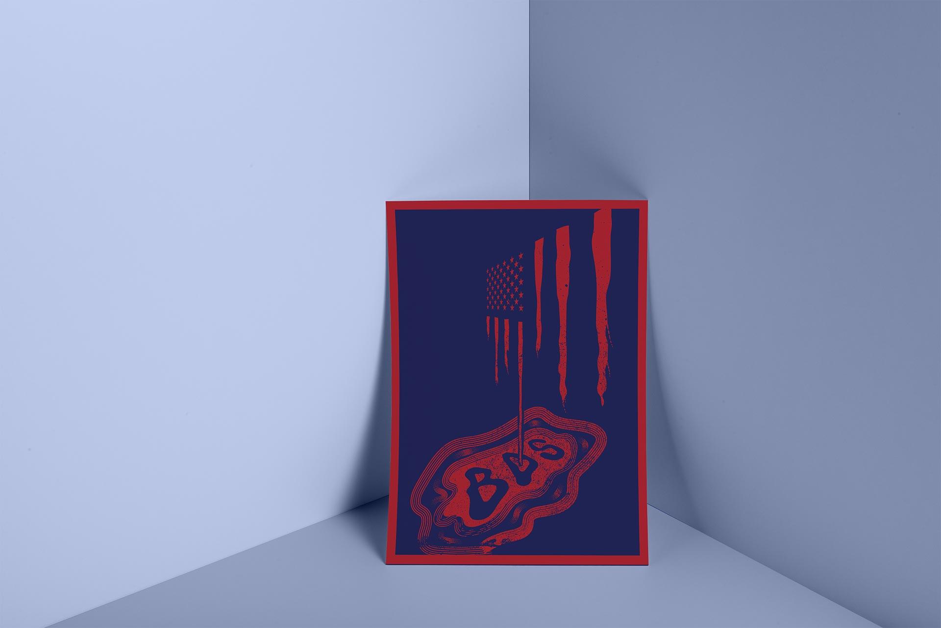 BDS illustration poster mock up displays the American flag bleeding BSD