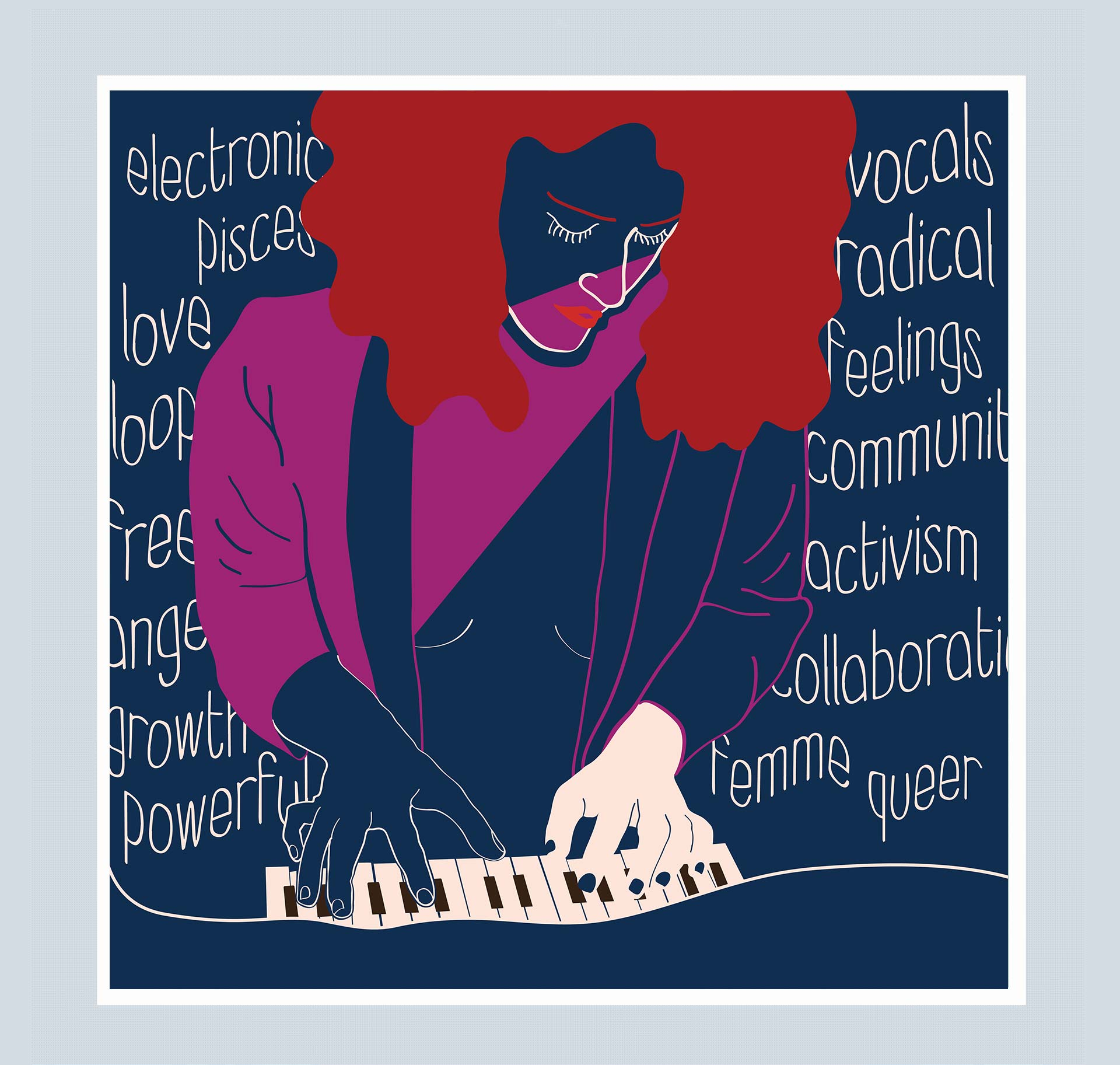 Femme musician playing the piano. Several typographic words fill the background.