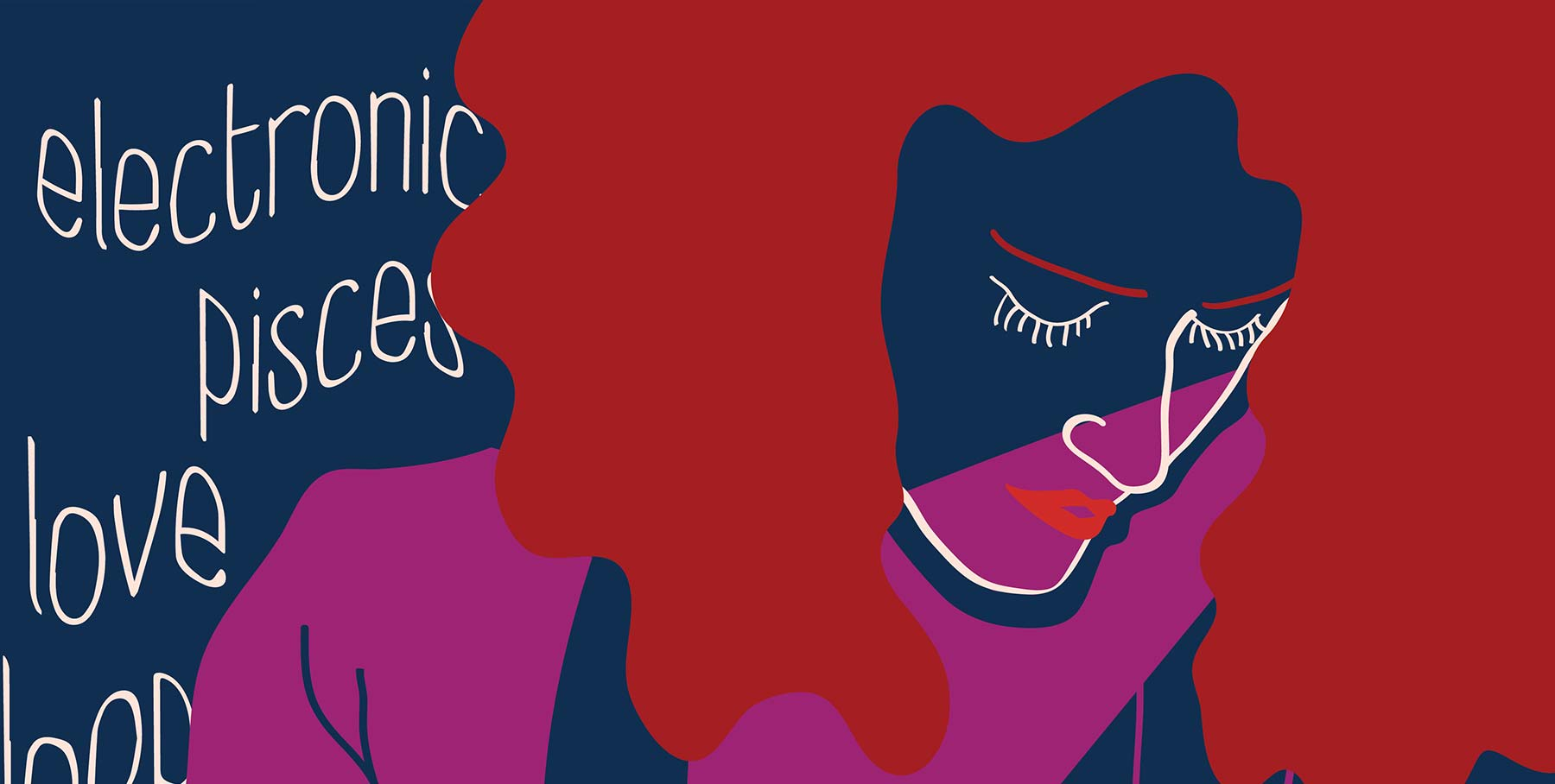 Details. Femme musician playing the piano. Several typographic words fill the background.