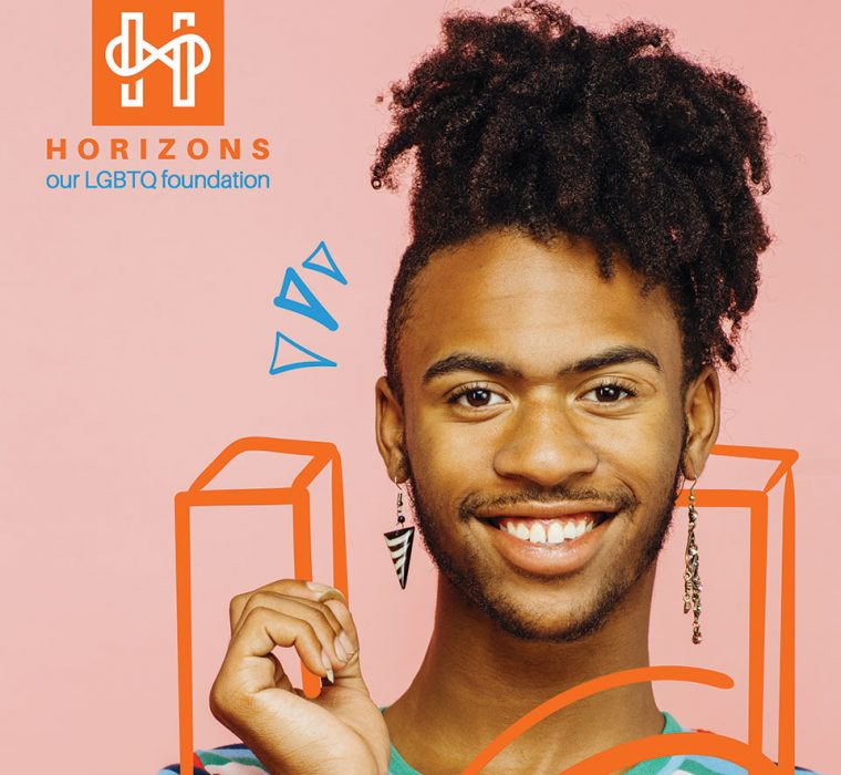 """Horizons thumbnail features the logo and to the right a black, lgbtq member with illustrative elements of an """"h"""" around the person"""