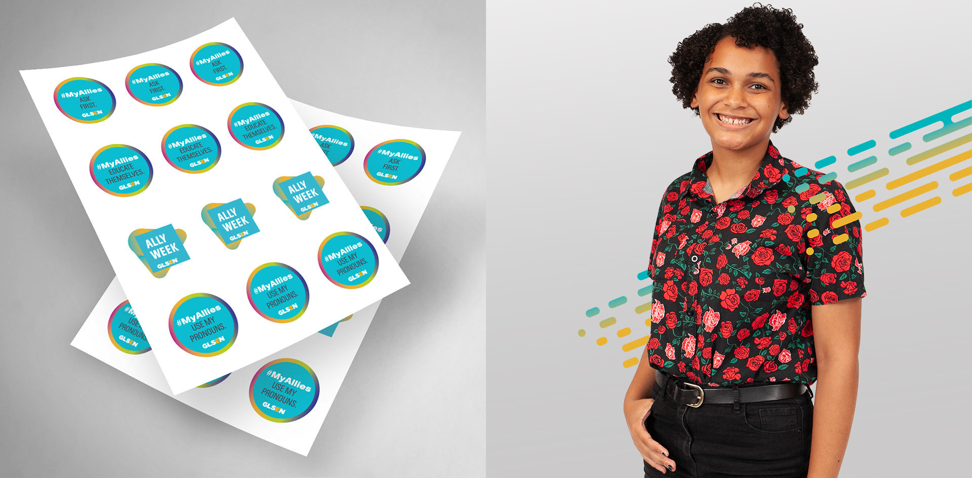 Ally Week merchandise ad with stickers. There a photograph of a student on the right with diagonal lines.