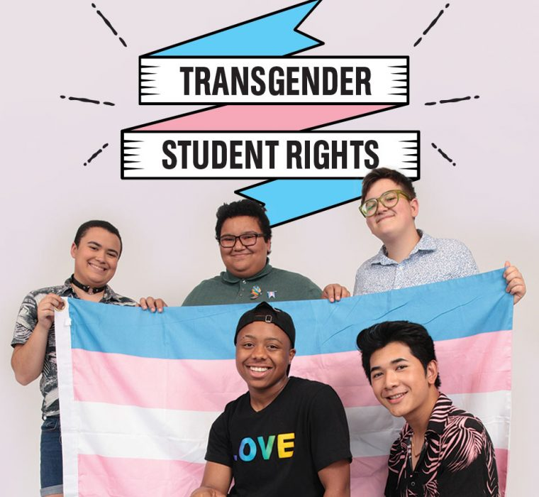 """Thumbnail GLSEN with trans students holding trans flag. Text reads """"transgender student rights"""""""
