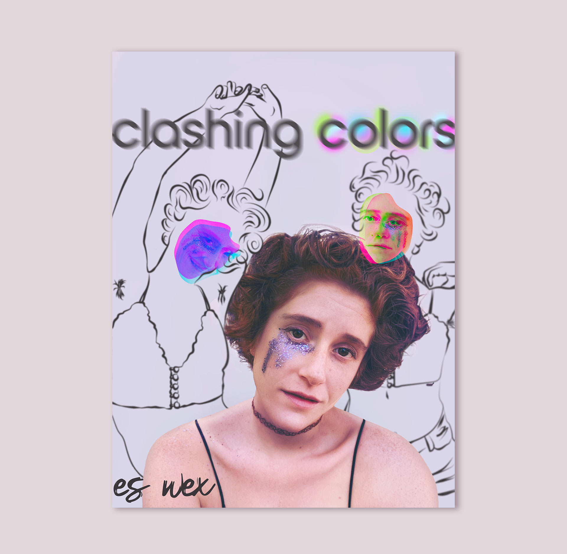 'Clashing Colors' single art has the artist front and center and two illustrated versions of them on the background. The three represent the stages of a breakup