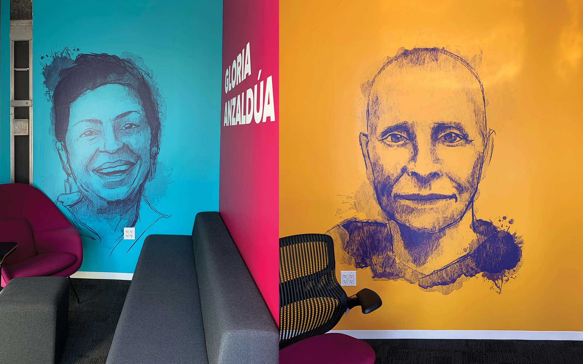 Wall decal from Gloria Anzaldua and Leslie Feinberg at GLSEN's office