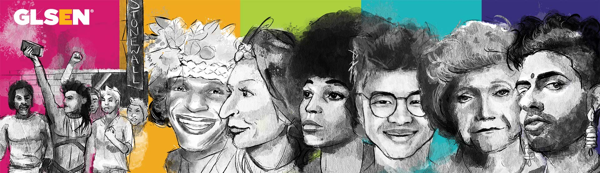 Banner of LGBTQ history illustrated icons