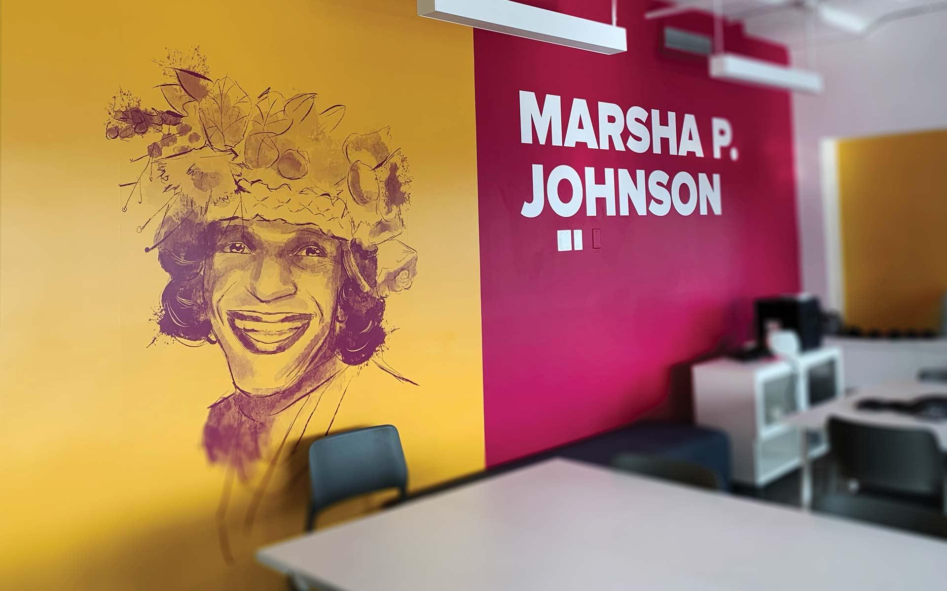 Marsha P. Johnson wall decal at GLSEN's office
