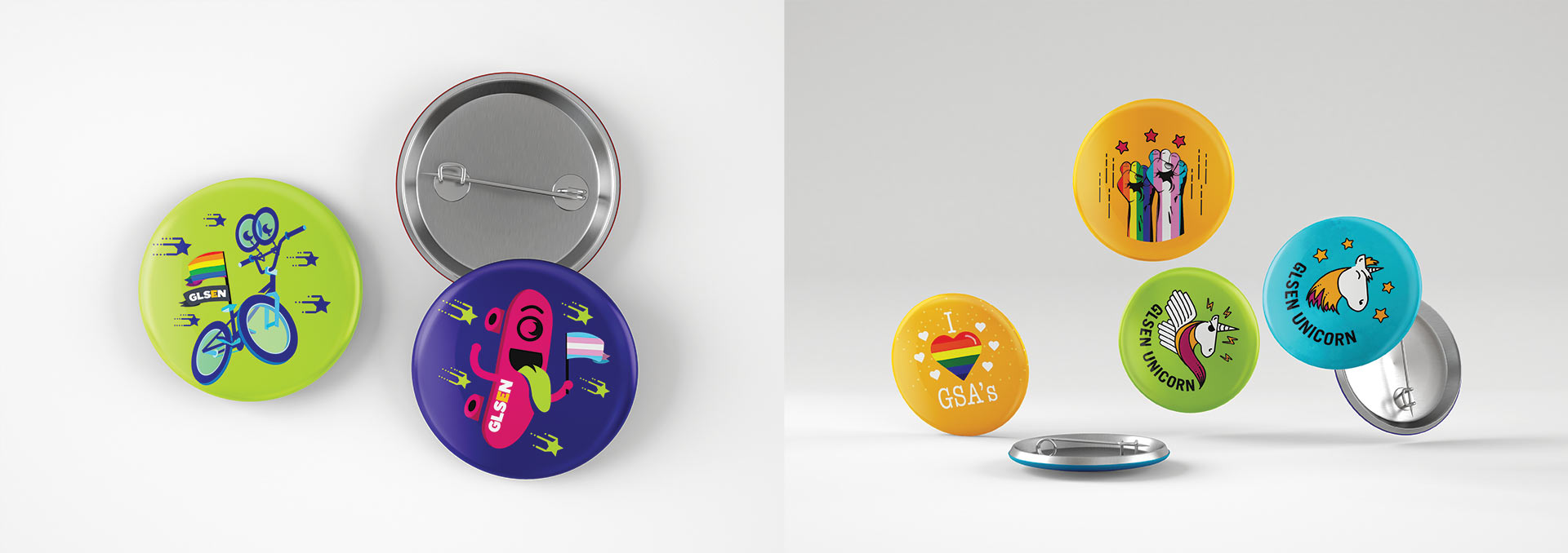 Various illustrated pins on buttons mockups