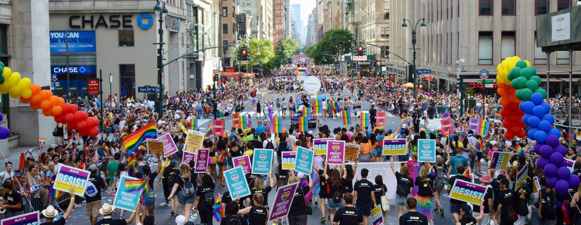 Photo of thousands of people at Pride with focus on the GLSEN block