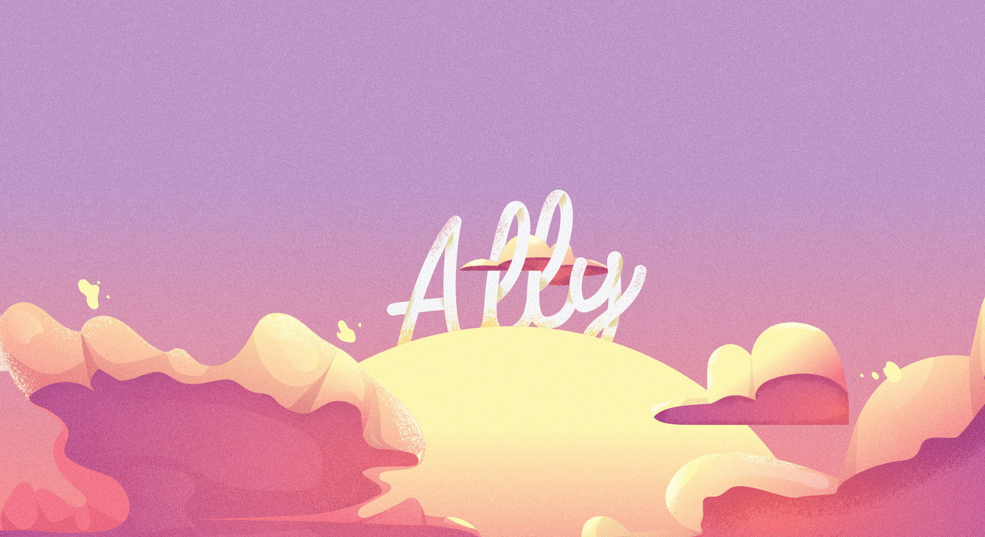 Ally header. Typography on clouds and sunset.