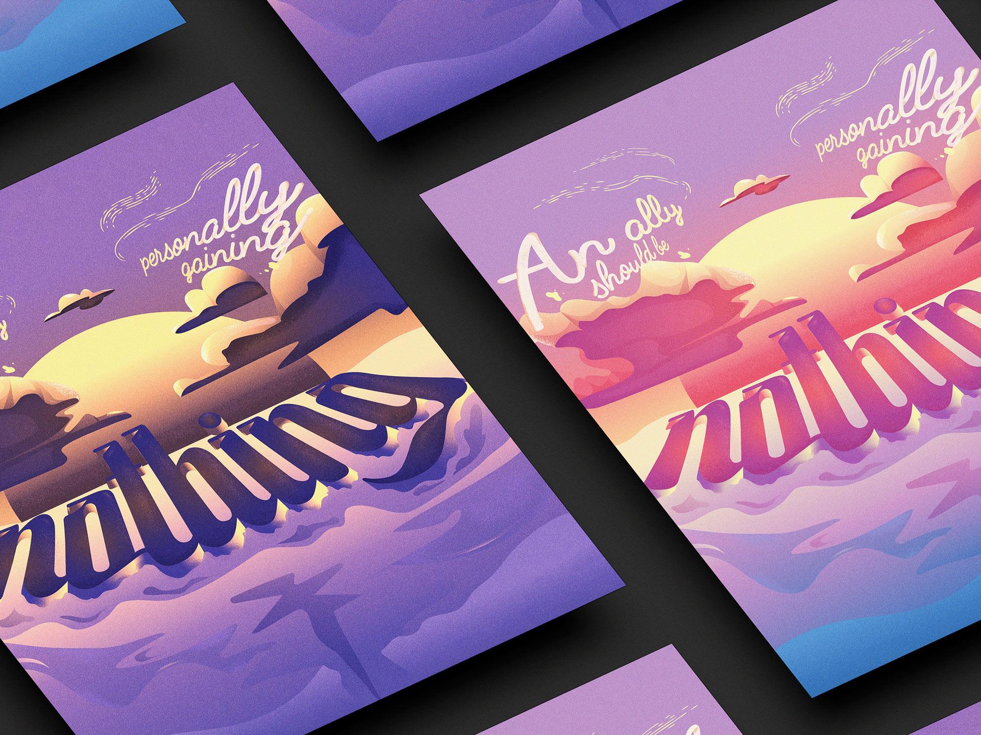 Allyship posters mockup details.