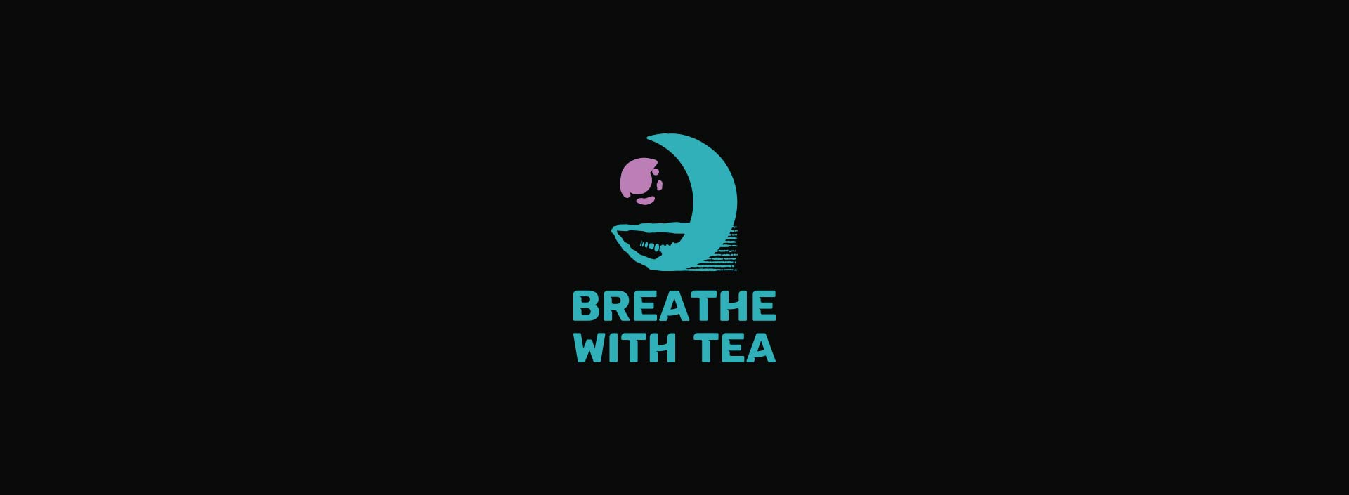 """""""Breathe with Tea"""" logos in a light and dark backgrounds."""