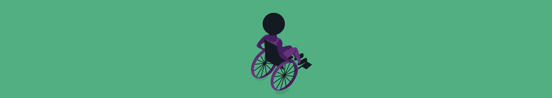 Header with person with afro in a wheelchair part of the illustration