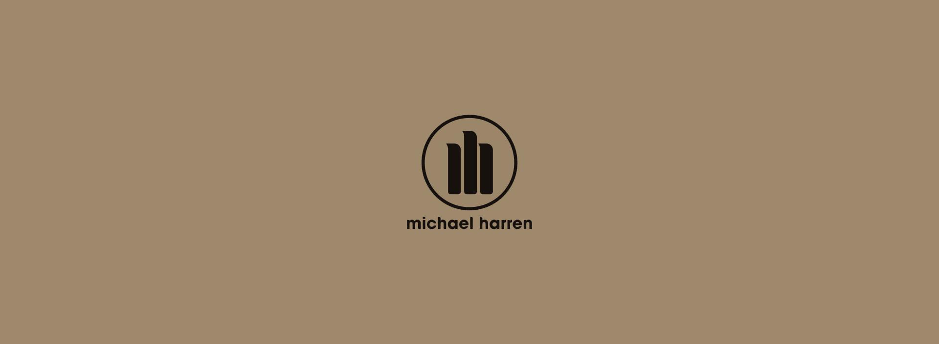 """Michael Harren"" logos in a light and dark backgrounds."