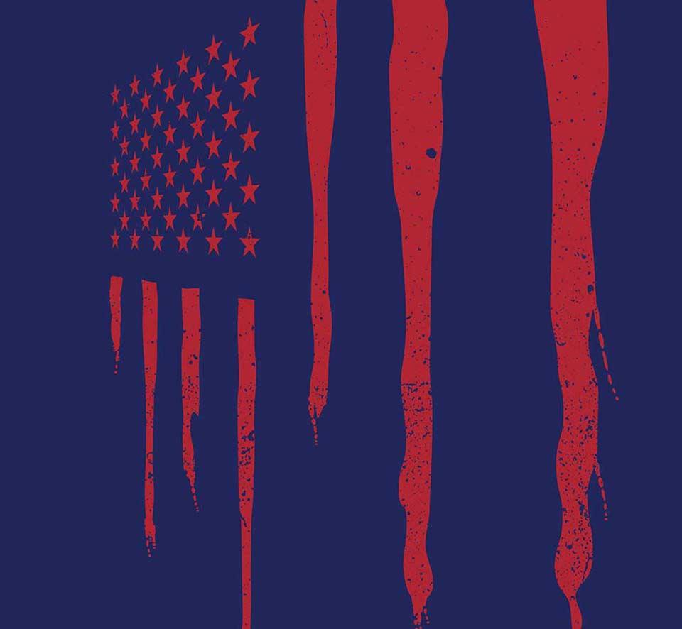 Detail of BDS illustration poster mock up displays the American flag bleeding BSD