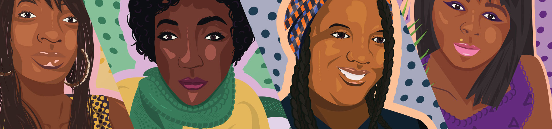 #SayHerName campaign banner features 4 portrait illustrations of women kill