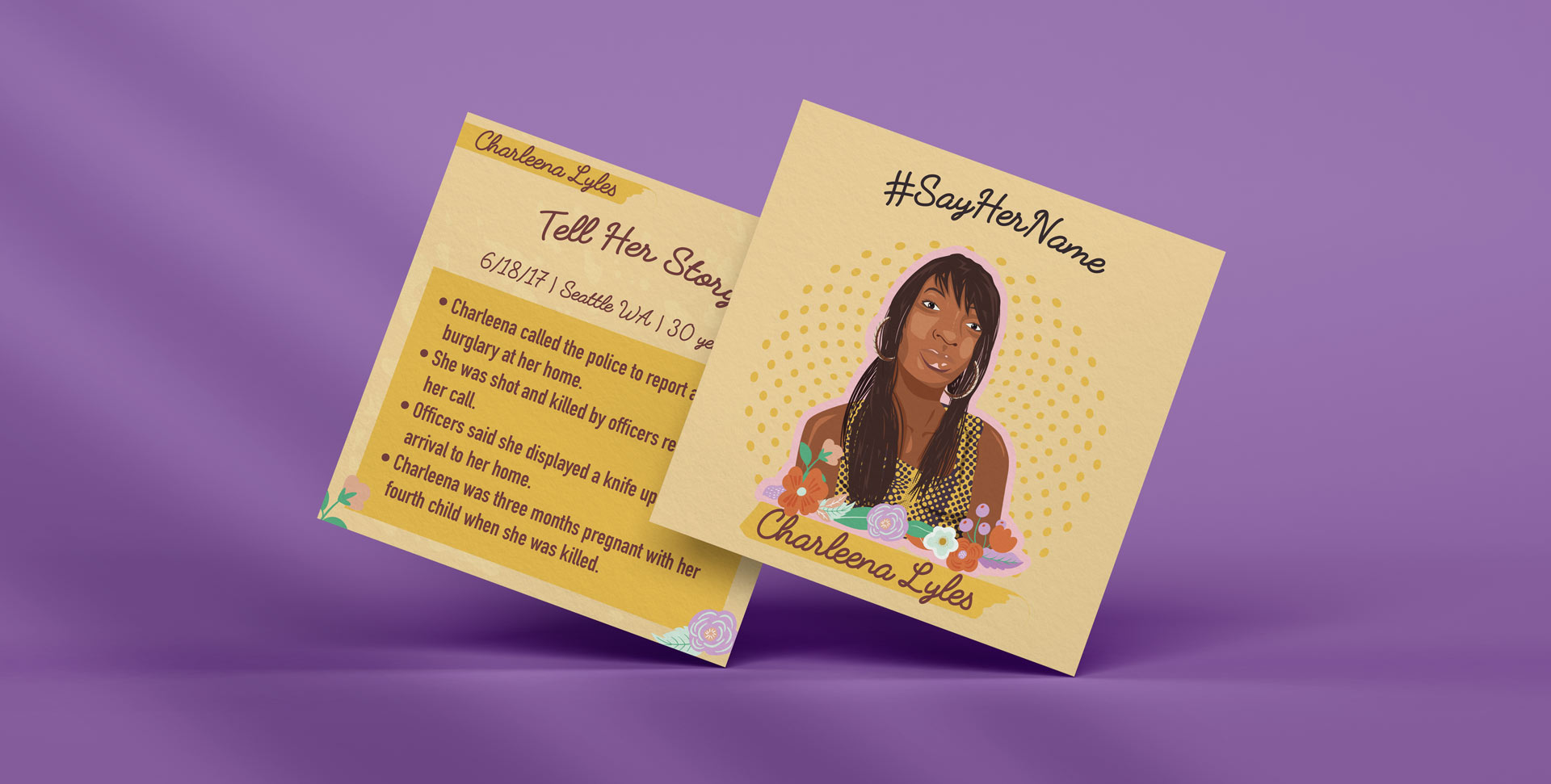 Charleena Lyles mockup illustration with her portrait and on the back her story