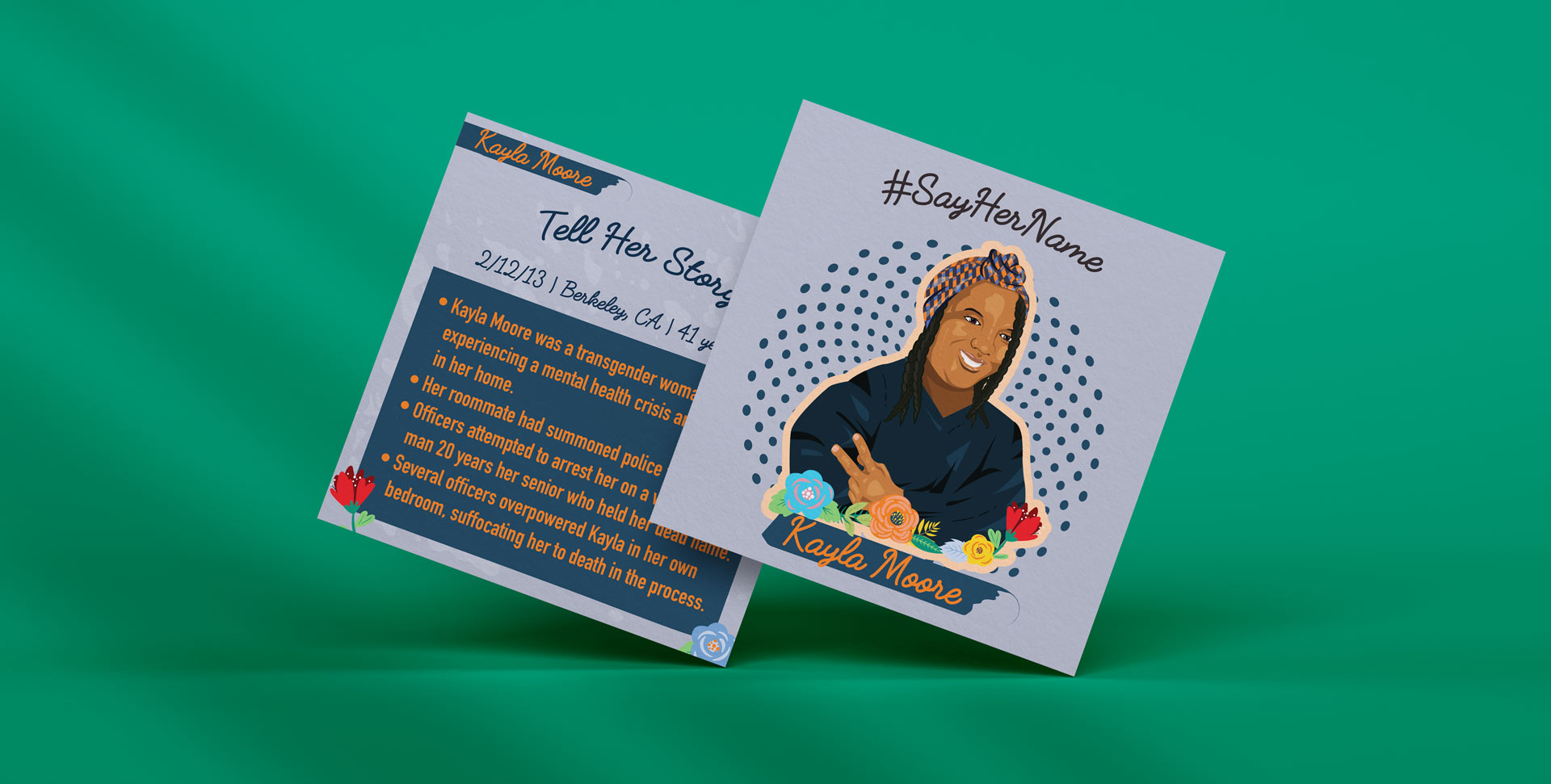 Kayla Moore mockup illustration with her portrait and on the back her story
