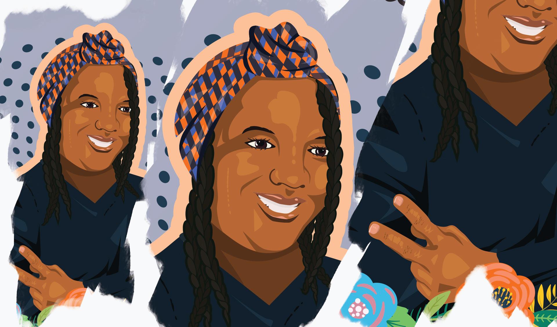 Kayla Moore illustration details.