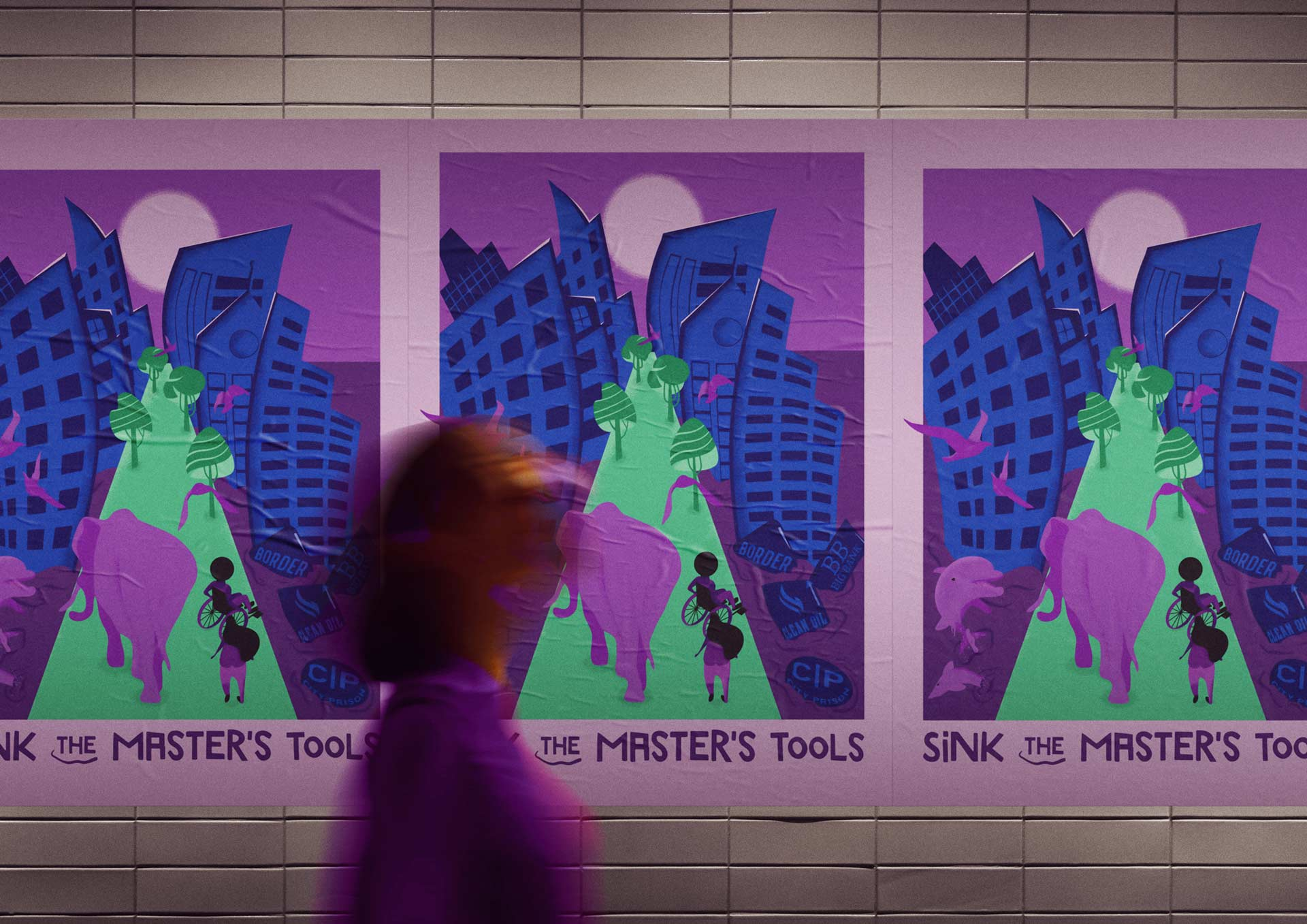 Mockup street poster of Sink the master's tools illustration with blurred person passing by