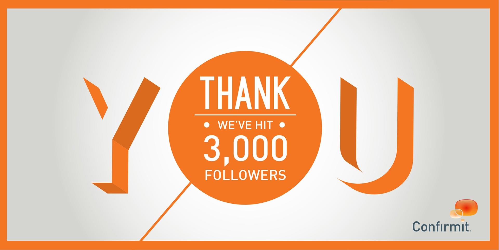 'Thank you' social media piece for 3,000 followers.