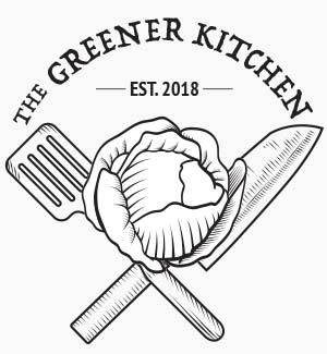 """The Greener Kitchen"" black and white logo."
