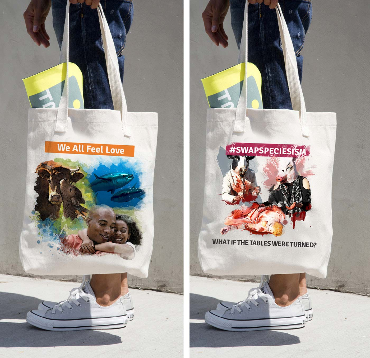 """Tote bag mock up. First tote reads """"We all feel love"""". Image of cows caressing each other, humans hugging and tuna fish swimming together. Second tote reads """"#SwapSpeciesism"""" it has a human dressed as a cow and a human dressed as a pig serving a human"""