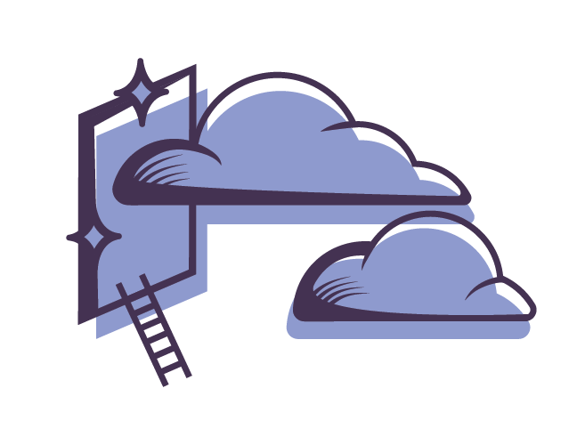 Guidance icon: clouds entering window with a ladder. There are stars around - branding social justice