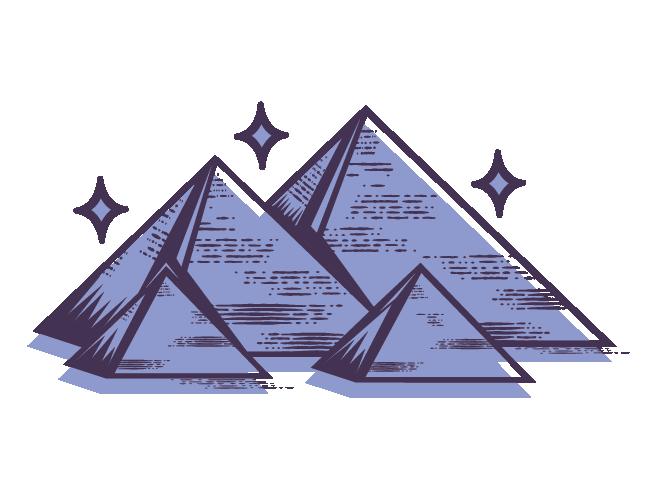 Longevity Icon: pyramids with stars around - branding social justice