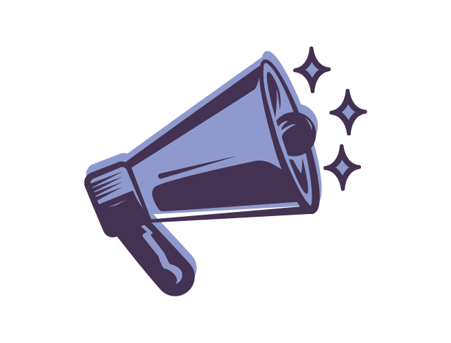 Social Justice icon: a megaphone with stars around - branding social justice