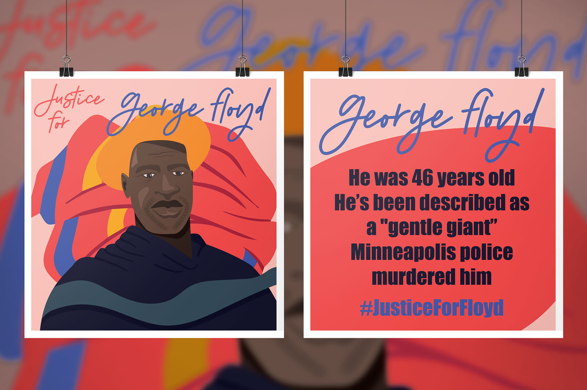 """George Floyd mockup poster. Image depicts a portrait of George Floyd with a warm background. The back of the poster reads """"He was 46 years old He's been described as a """"gentle giant"""" Minneapolis police murdered him."""""""