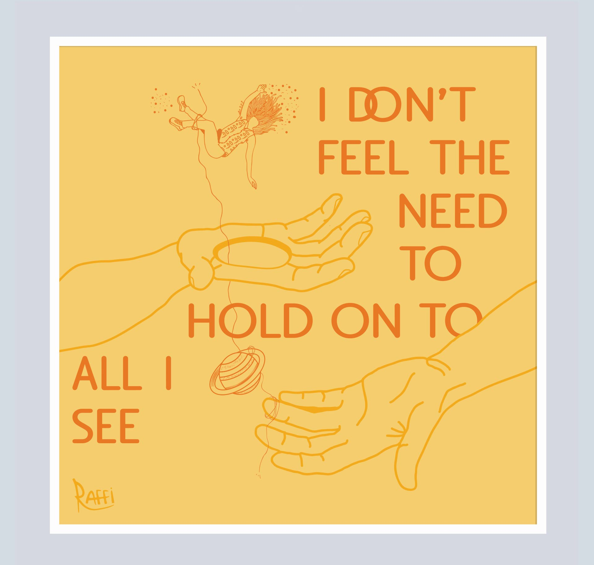 I Don't Feel The Need to Hold on to all I See illustration. There's a person with dreads falling onto a hand with a hole. The is a string unraveling onto a planet and another hand without a hole.