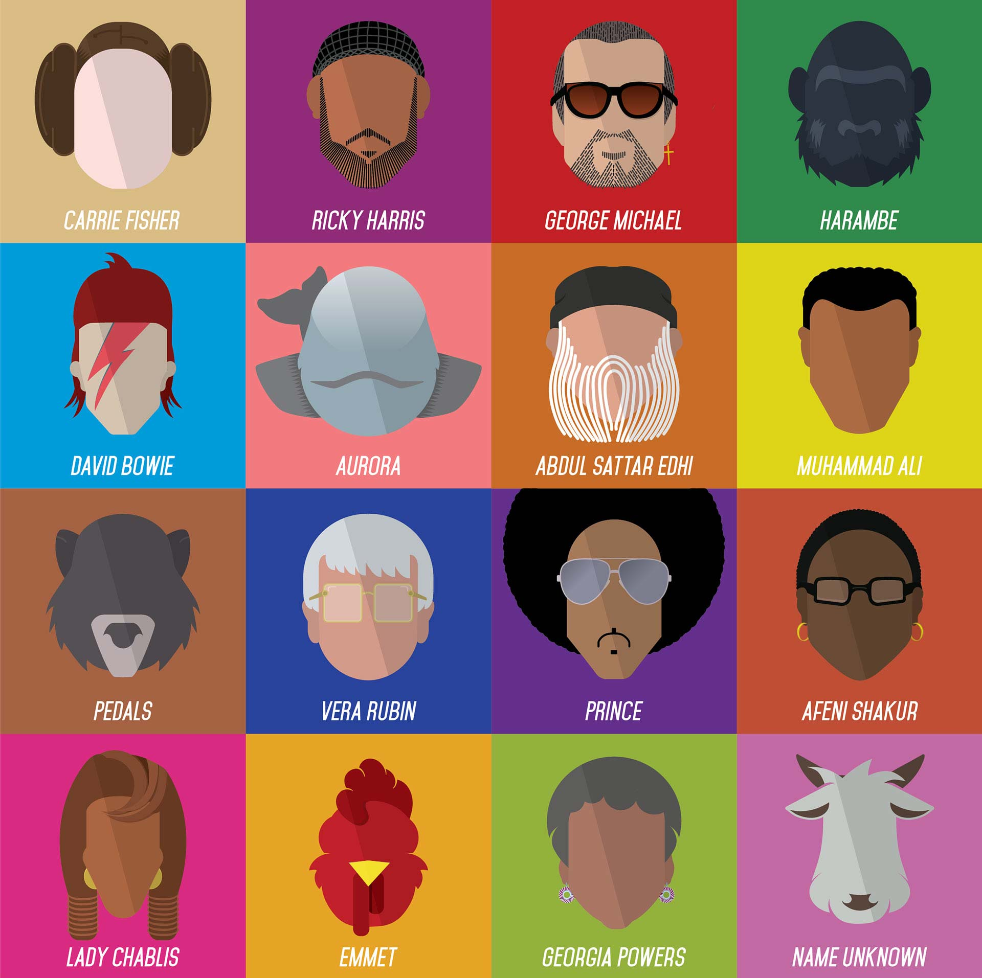 """""""Rest in Power"""" all 16 illustrations in a grid."""