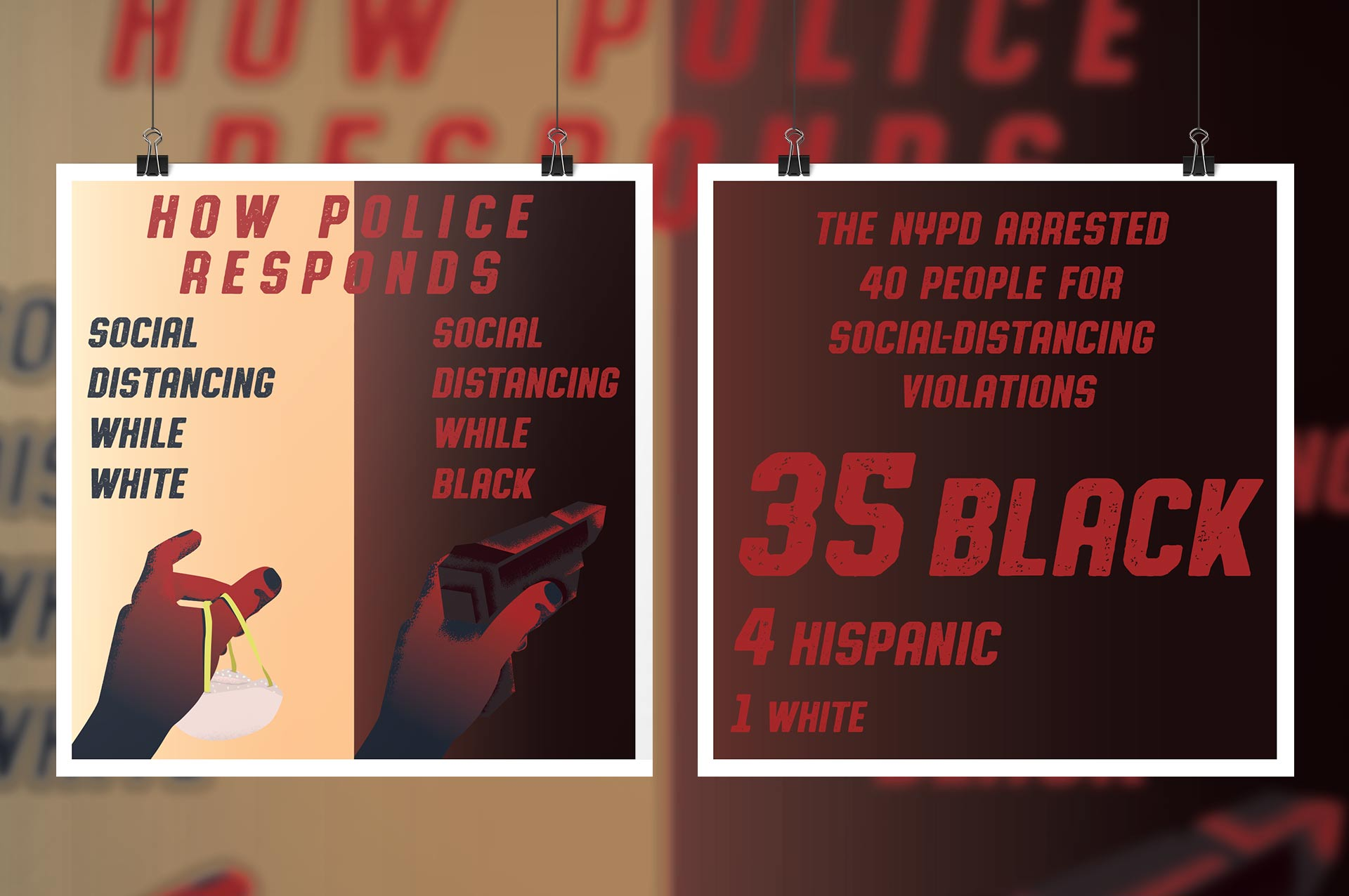 """""""How police responds to social distancing"""" illustration. Title """"how polices responds"""". The graphic on the left reads """"social distancing while white"""" and there's a hand offering a mask. On the right the graphics reads """"social distancing while black"""" and there's a hand pointing a gun. The back of the graphics reads """"The nypd arrested 40 people for social-distancing violations. 35 Black. 4 Hispanic. 1 White."""""""